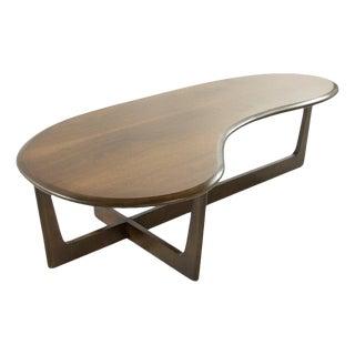 Asymmetric Mid-Century Modern Walnut Coffee Table For Sale