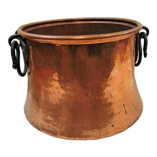 Rustic Hand Hammered Copper & Iron Bucket For Sale