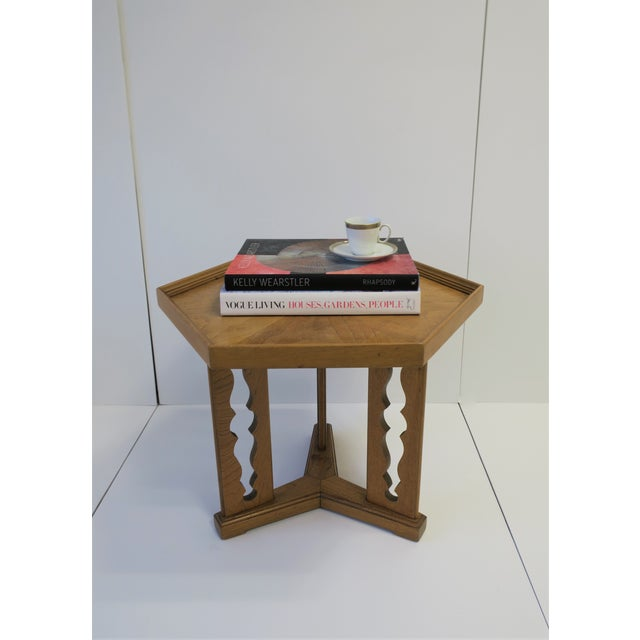 Hexagon Wood Side or End Table Esperanto by Drexel For Sale In New York - Image 6 of 13
