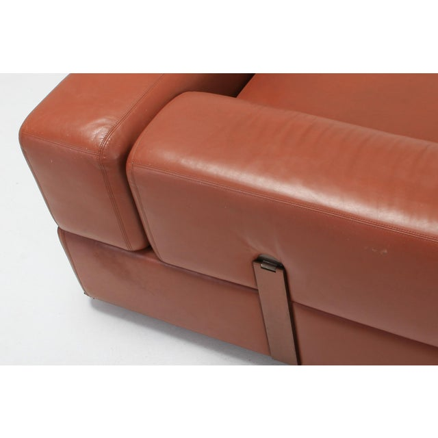 Copper Minimalist Cognac Leather Sofa by Tito Agnoli for Cinova For Sale - Image 8 of 12