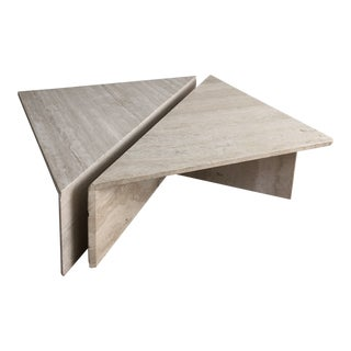 Vintage Travertine Stone Triangle Coffee Table - 2 Pieces For Sale