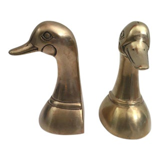 Pair of Vintage Polished Cast Brass Duck Bookends, Circa 1950 For Sale