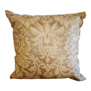 Damask Embossed Leather Pillow For Sale