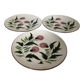 Midcentury Stangl Pottery Thistle Set of 3 Dinner Plates For Sale