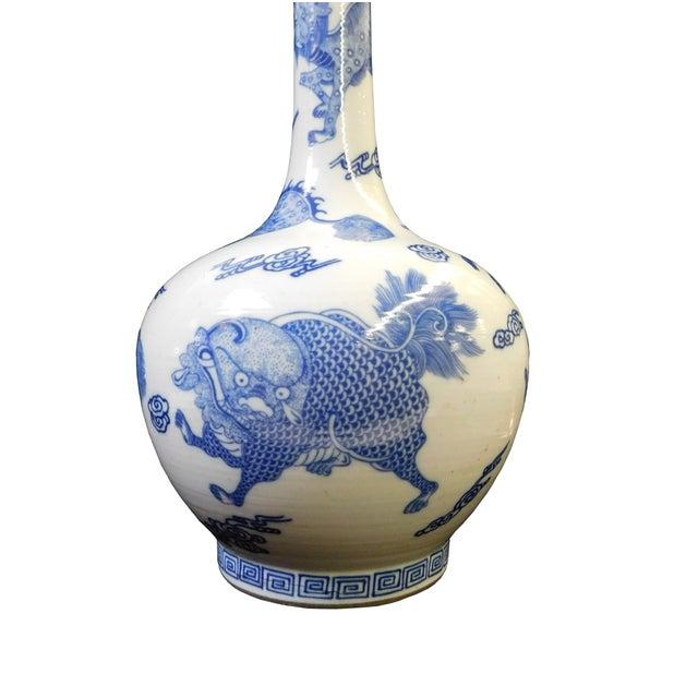 Blue & White Tall Neck Kirin Vase For Sale - Image 4 of 6
