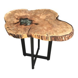 Industrial Live Edge Slab End Table With River Rocks in Resin Epoxy For Sale