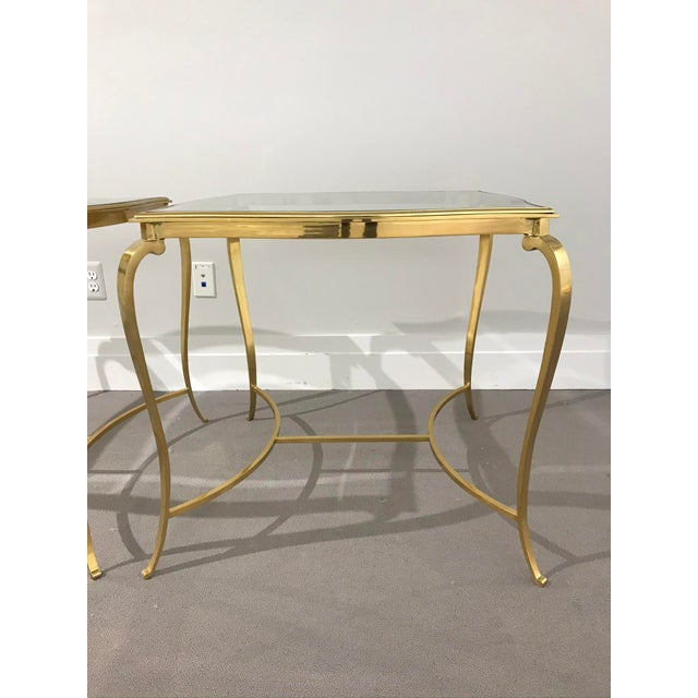 Hollywood Regency Hollywood Regency Brass and Glass Henredon Side Tables - a Pair For Sale - Image 3 of 13