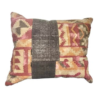 South American Handwoven Mixed Fabric Pillow For Sale