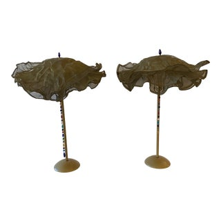 Postmodern Table Lamps With Brass Metal Mesh Shades a Pair. For Sale