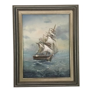 Mid 20th Century Vintage Detailed Clipper Ship Original Oil Painting For Sale