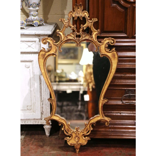 Gold Early 20th Century Italian Rococo Carved Giltwood Wall Mirror For Sale - Image 8 of 8