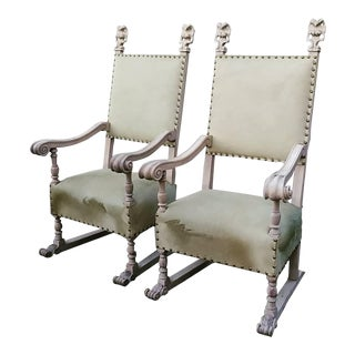 1920s Vintage Bleach Wood and Horse Skin Antique Chairs- A Pair For Sale