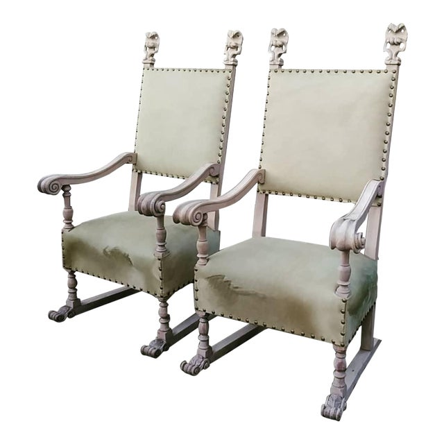 1920s Vintage Bleach Wood and Horse Skin Antique Chairs - a Pair For Sale
