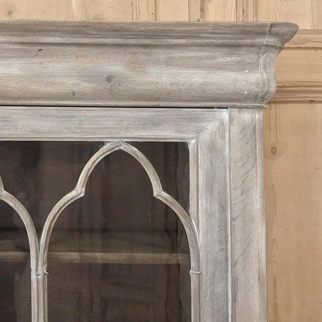 19th Century French Louis Philippe Period Whitewashed Bookcase For Sale - Image 10 of 13