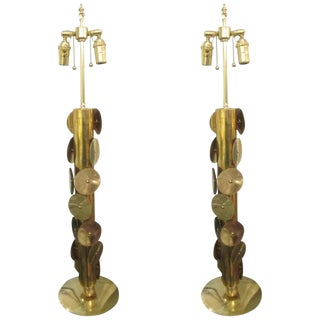 Unusual Pair of Brass Lamps With Applied Circular Brass Discs For Sale