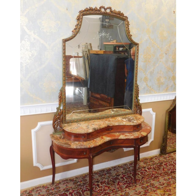 Fine 1920s French inlaid & Banded Mahogany Marble Top Bedroom Dressing Table Vanity w/ Mirror - Image 3 of 11