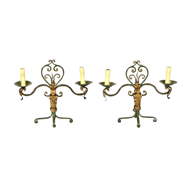 Pair French Two Light Green and Gilt Metal Candelabra Table Lamps - Image 1 of 4