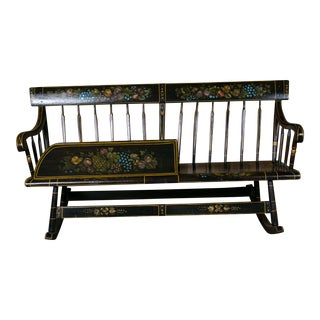 American Wooden Mammy Bench Rocker, circa 1890, Hand-Painted by Lew Hudnall For Sale