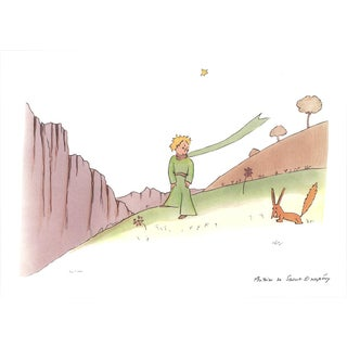 2015 Antoine De Saint Exupery 'The Little Prince and the Fox' Modernism Brown,Gray,Green France Lithograph For Sale