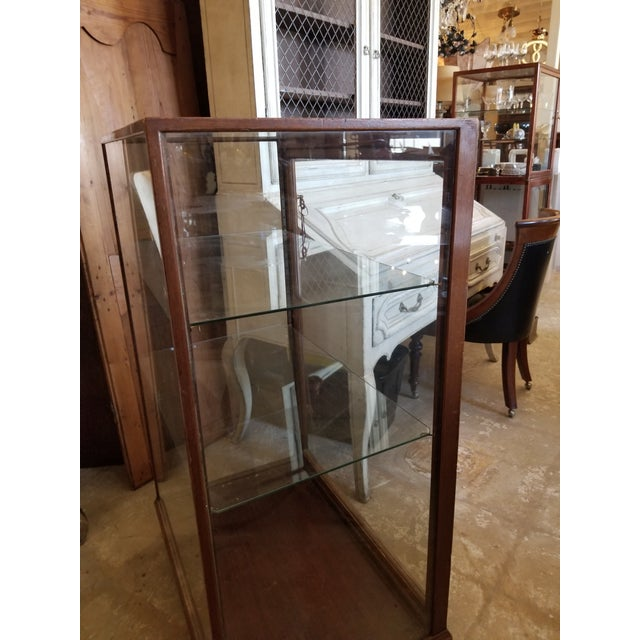 Antique Mahogany Display Case Cabinet For Sale - Image 4 of 9