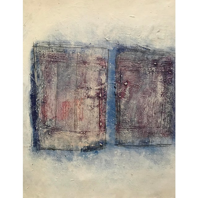 """Abstract 1980s Abstract Bay Area Artist Painting """"3 Quadrilaterals"""" For Sale - Image 3 of 5"""