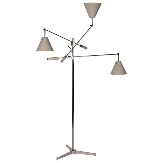 1950s Vintage Polished Nickel Arredoluce Monza Triennale Tripod Base Floor Lamp For Sale - Image 10 of 10