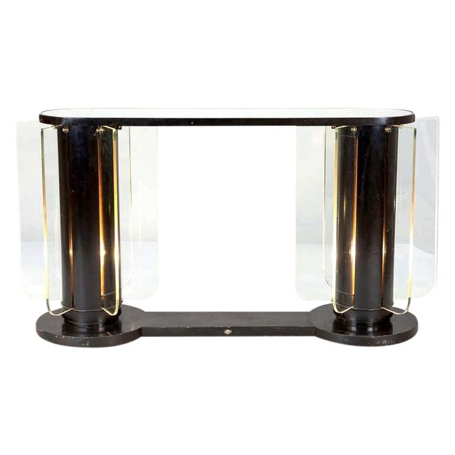 French Art Deco Ebonized Mirror Top Illuminated Console - Image 1 of 5