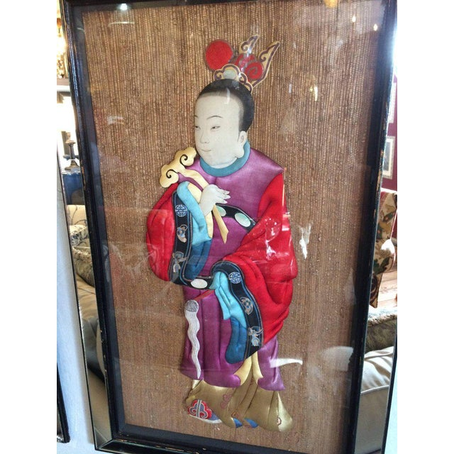 Quilted Asian Ancestors in Glitzy Mirrored Frames - Set of 4 For Sale In Philadelphia - Image 6 of 11