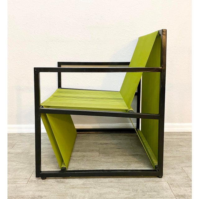 Mid Century Modern Style Iron and Vinyl Threaded Side Chair For Sale In Naples, FL - Image 6 of 8