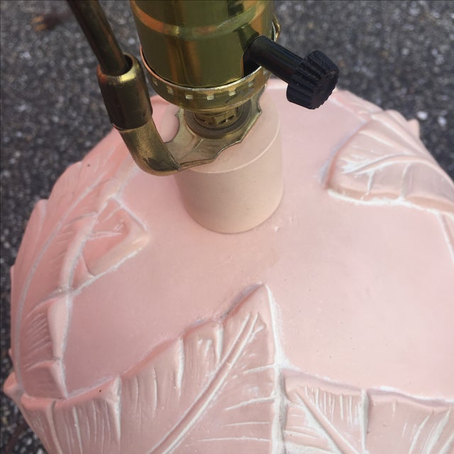 Vintage Banana Leaf Ceramic Blush Lamps - A Pair For Sale In Baltimore - Image 6 of 11