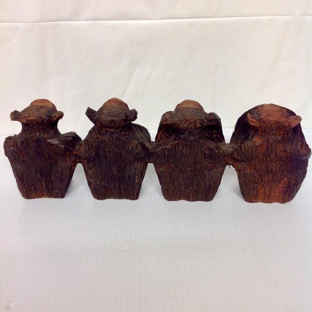 Vintage Hand Carved Wise Monkeys Sculpture - S/4 For Sale - Image 7 of 8