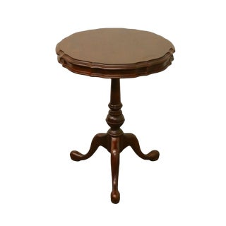 Solid Cherry Pie Crust Lamp Table / Plant Stand For Sale