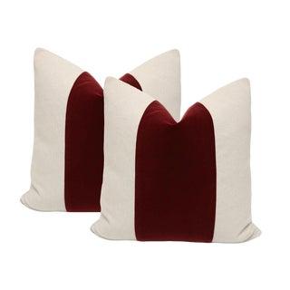 """20"""" Oxblood Velvet Panel & Linen Pillows - A Pair"""