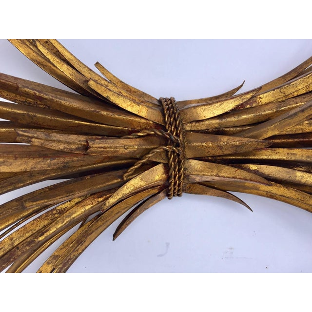 Vintage Gilded Metal Sheaf of Wheat Console Table Base For Sale - Image 12 of 13