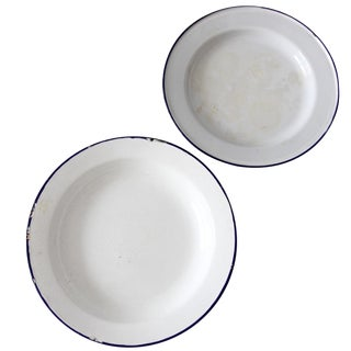 Vintage Enamelware Plates - A Pair For Sale