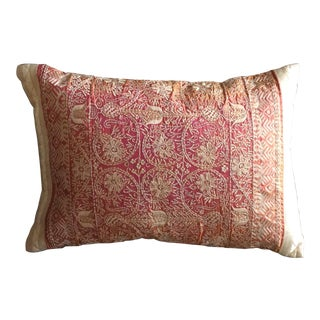Luxury Silk Embroidered Accent Pillow For Sale