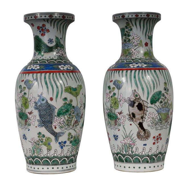 20th Century Chinese Porcelain Koi Fish Vases - a Pair For Sale - Image 9 of 9