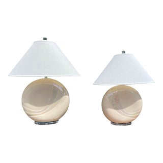 1970s Van Teal Pearlescent Glass Table Lamps - a Pair For Sale