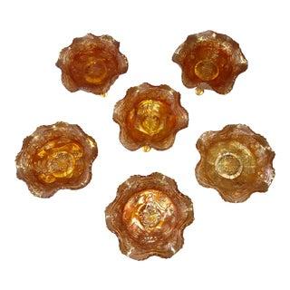 Antique Orange Carnival Glass Bowls - Set of 6 For Sale