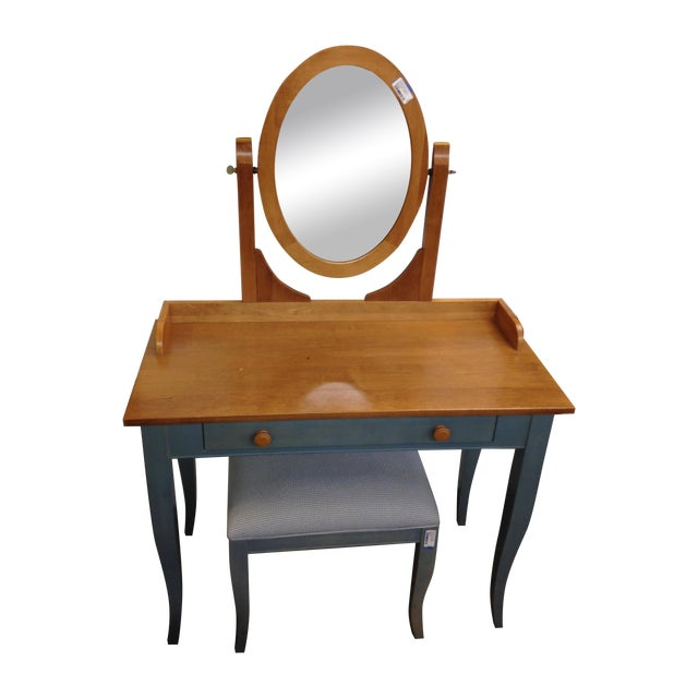 Ethan Allen Country Blue Vanity With Bench - Image 1 of 8