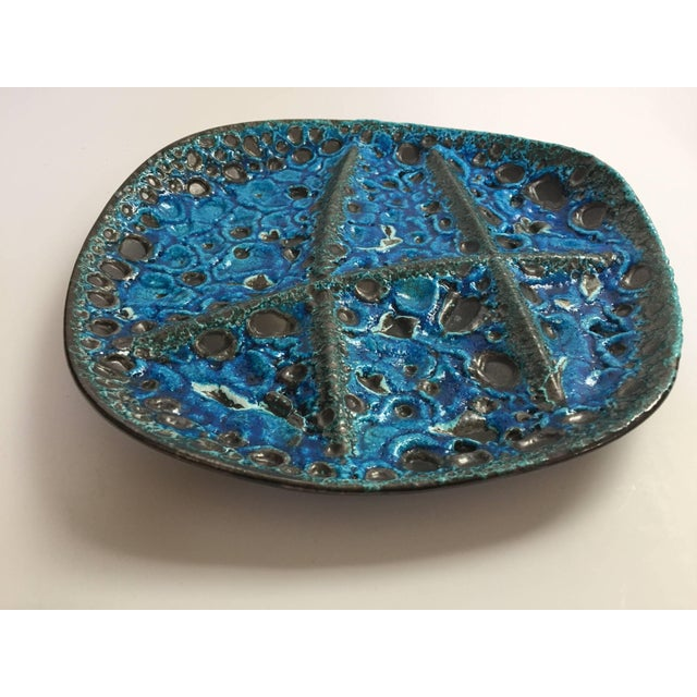 Black Vintage French Set of Three Glazed Painted Stoneware Plates in Blue Lava, 1970s For Sale - Image 8 of 11