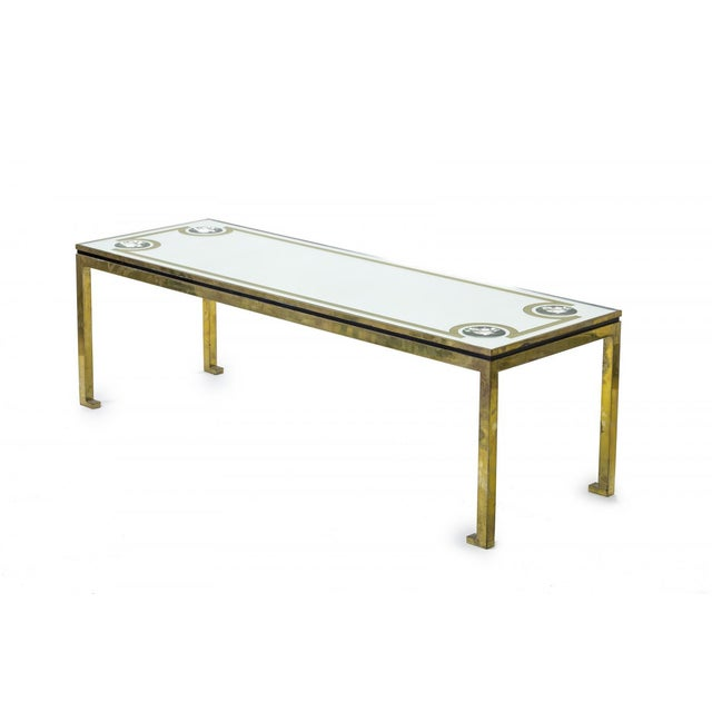 Andre Hayat exclusive long bronze coffee table with mirrored top & lense effect