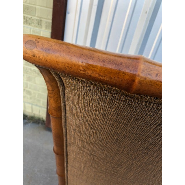 1970s Vintage Faux Bamboo Upholstered Dining Chairs Set