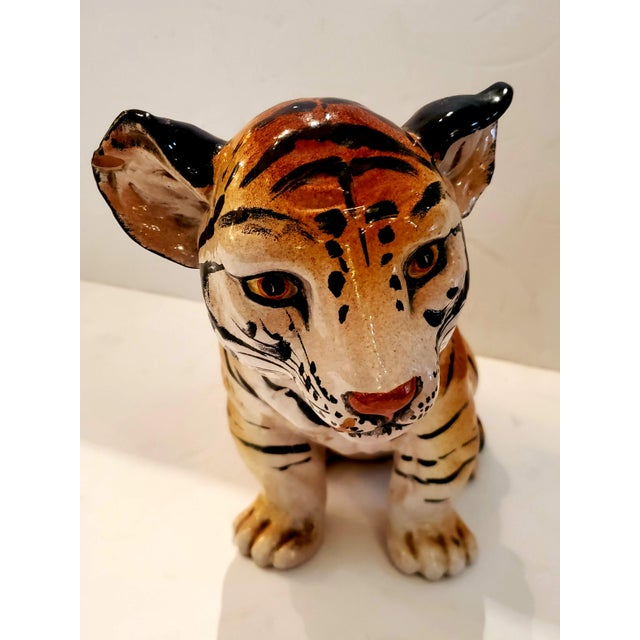 Italian Ceramic Tiger Cub Sculpture For Sale - Image 10 of 10