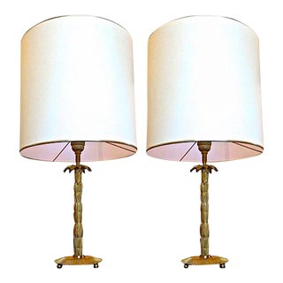 Maison Bagues Gold Bronze Pair of Palm Trunk Shaped Lamps For Sale