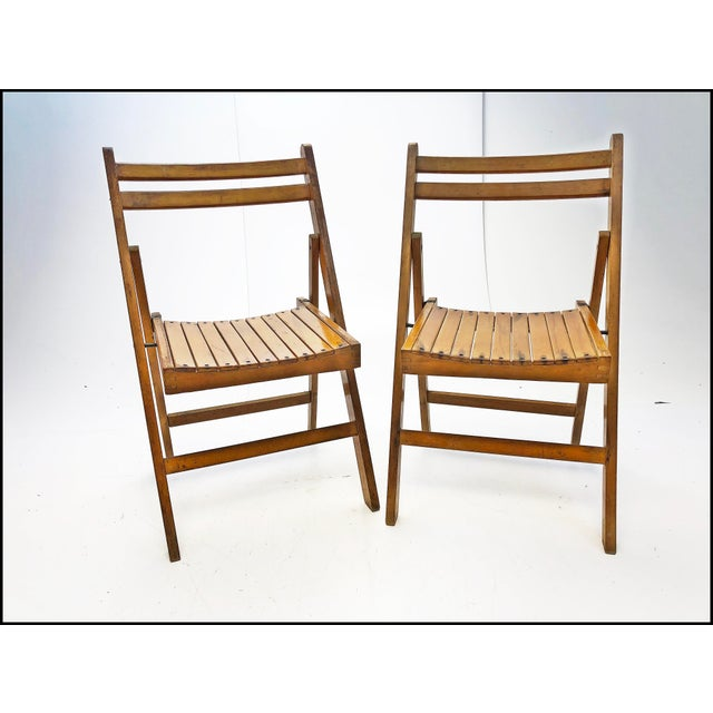 Brown Vintage Rustic Slat Wood Folding Chairs - Set of 4 For Sale - Image 8 of 13