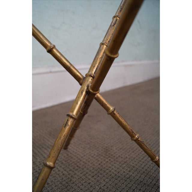 Vintage Gilt Metal Faux Bamboo Side Table For Sale - Image 7 of 10