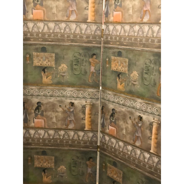 Maitland-Smith Postmodern Egyptian Revival Silk Screens - a Pair - Image 6 of 6