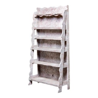 French Style Open Shelf Unit or Etagere With Aged White Paint For Sale