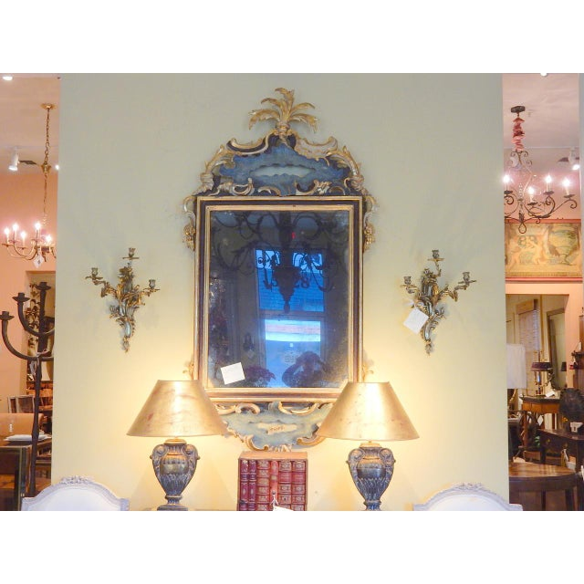 Early 19th Century Italian Rococo Painted and Gilt Mirror For Sale - Image 9 of 10